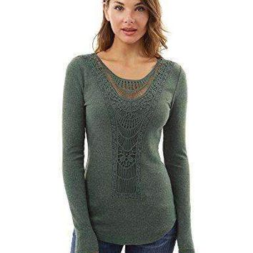 PattyBoutik Women's Crochet Lace Inset Curved Hem Blouse (Dark Heather Green XS)