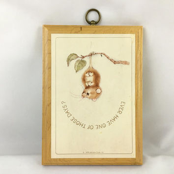 "Adorable Baby Opossum Hanging Upside Down Vintage Hallmark ""Ever Have One Of Those Days?"" Upside Down Opossum Wall Art Plaque 7"" x 5"""