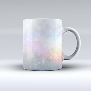 The unfocused Multicolor Glowing Orbs of Light ink-Fuzed Ceramic Coffee Mug