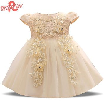 Summer Baby Girl Dress New Designer Baptism Gowns Lace Christening Gown Baby Girl 1 Year Birthday Outfit Fancy Girl Party Dress