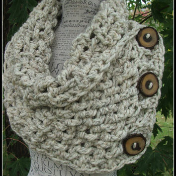 Crochet Cowl. Infinity Cowl. Infinity Scarf. Wheat color. Button scarf. Chunky. Made by Bead Gs on ETSY. Lattice. Lattice scarf. Cowl.