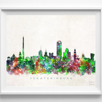Yekaterinburg Skyline Print, Russia Print, Cityscape, Watercolor Art, Home Decor, Giclee Art, Room Art, Christmas Gift