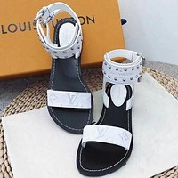 Gotopfashion ¡¾Louis Vuitton¡¿LV One word with flat bottom high boots Sandals Coffee Color Slippers B-ALS-XZ White