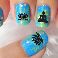 70 Mixed BUDDHIST Symbol Nail Art Decals - Diwali Meditation LOTUS CANDLES Buddha Waterslide Transfers not Vinyl or Stickers