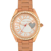 Betsey Johnson Rose Gold Bling Bling Time Heart Boyfriend Watch | Dillards.com