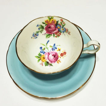 ON SALE Vintage Bone China Tea Cup, Royal Grafton, Light Blue, Flowers, Wide Rimmed, Gold, Mother's Day Gift, Wedding Gift,  1950s