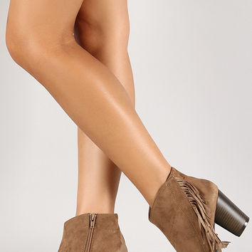 Qupid Sake-11 Suede Fringe Almond Toe Ankle Bootie