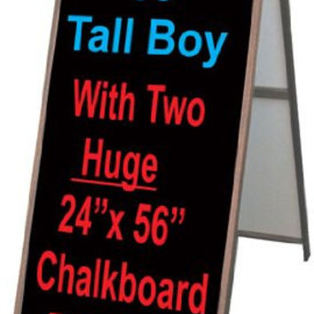 "Wood A-Frame 24""x60"" Double Sided Sidewalk Signs w/ Chalkboard Panels"