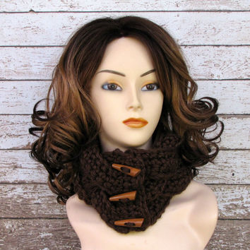 Chocolate Brown Braided Cowl, Crocheted Winter Scarf, Women's Scarf, Teen Cowl