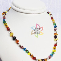 Baby Custom Baltic Healing Amber necklace designed with 100% Baltic amber beads and clear glass beads in rainbow colors. OPTIONS AVAILABLE