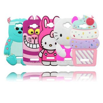 For Alcatel One Touch Pop C7 7040 7040D OT7040 Owl Sulley Cupcake Pig Minnie Stitch Hello Kitty Rabbit 3D Silicone Case Cover