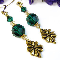 Emerald Green Earrings, Four Leaf Clover Charms, St Patrick's Day, Swarovski Crystals, Handmade OOAK, Symbolic, Good Luck Dangles