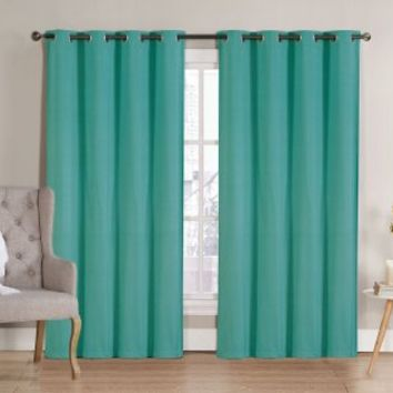 "HLC.ME Nicole Solid Thermal Insulated Blackout Window Curtain Panels - Pair - 90"" inch Long (Turquoise)"