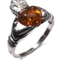 Honey Amber and Sterling Silver Irish Claddagh Ring