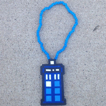 Perler Doctor Who Tardis 3D Kandi Necklace