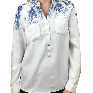 Tribal White & Blue Tie Dye Blouse