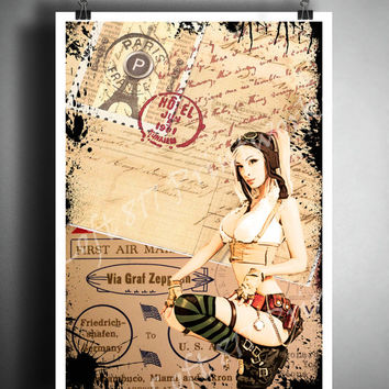 Sexy pinup girl - sexy art - steampunk girl with vintage post cards - aviator art