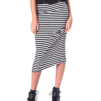Cannes Stripe Maxi Skirt - Black/White