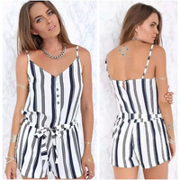 Summer Women's Fashion Stripes Print Sexy Backless Spaghetti Strap Jumpsuit [6513742535]