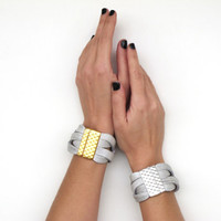 White Leather Cuff , Women's chunky leather bracelet , 24k gold plated or silver plated clasp SS15, BW02 NEW