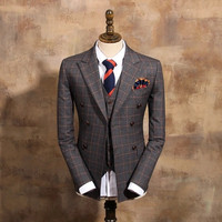Fashion orange crowben ash plaid double-breasted slim suit vintage outerwear male S1200