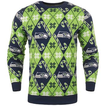 Seattle Seahawks - Mens Official NFL Candy Cane Repeat Crew Neck Sweater