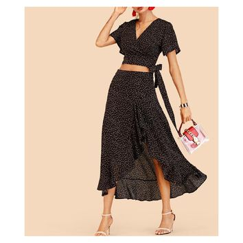 Black Polka Dot Crop Top Ruffle Skirt Matching Set