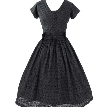 50s Black Eyelet Bow Accent Tea Length Dress