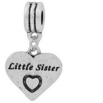 European Charm Metal Bead Word Charm LITTLE SISTER