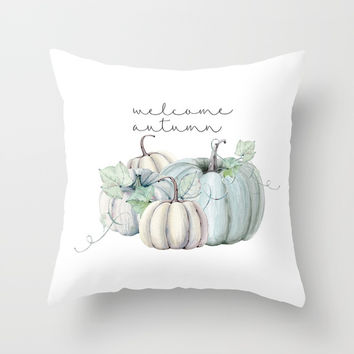 welcome autumn blue pumpkin Art Print by Sylvia Cook Photography