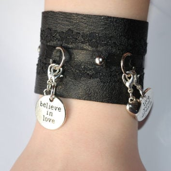 Black leather and lace charm bracelet with changeable charms, live your dream, believe in love, hearts, statement bracelet