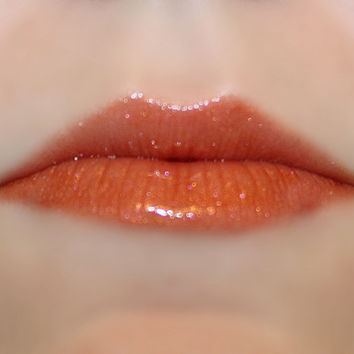 PANDORA Lip Gloss: 10 mL Tube, Shimmery Copper Lip Glaze, Bright Red Orange, Iridescent Glitter, VEGAN Cosmetics