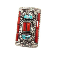 Long coral Turquoise ring