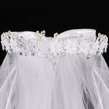 Corded Satin Daisy Crown Girls Communion Veil w. Rhinestones & Pearls