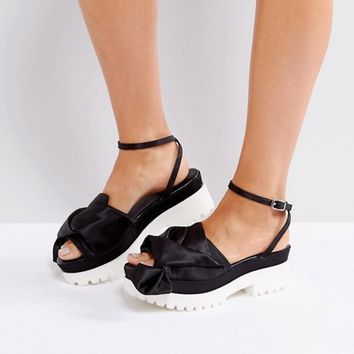 Coco Wren Oversized Bow Chunky Sole Sandal at asos.com