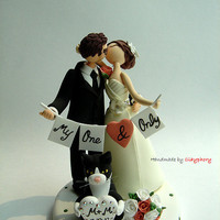 Romantic- Customized wedding cake topper with cat