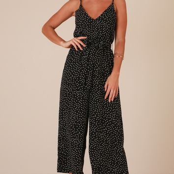 Are You With Me jumpsuit in black polka dot Produced By SHOWPO