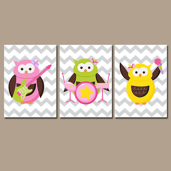 OWL Wall Art Canvas Music Guitar Drums Rocker Artwork Whimsical Girl Child Pink Green Owl Theme Chevron Set of 3 Prints Decor Bedroom  Three