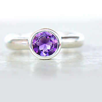 Amethyst Ring Purple Engagement Ring Solitaire Ring Recycled Sterling Silver Size 6 Promise Ring Birthstone Jewelry