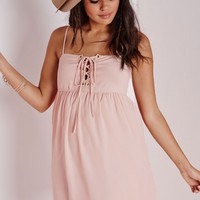 Missguided - Crepe Lace Up Strappy Swing Dress Nude