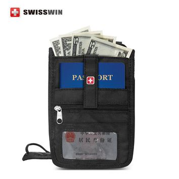Swisswin Passport Wallet Anti-theft Security Travel Wallet For Men and Women Neck Pouch for drivers license Boarding Pass Holder
