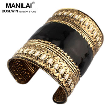MANILAI Indian style Cuff Bangles with oil-spot glaze , Vintage Cuff Bracelet for Women Statement Jewelry Fashion Accessories