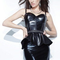 Black Leathery Spaghetti Strap Peplum Mini Bodycon Dress