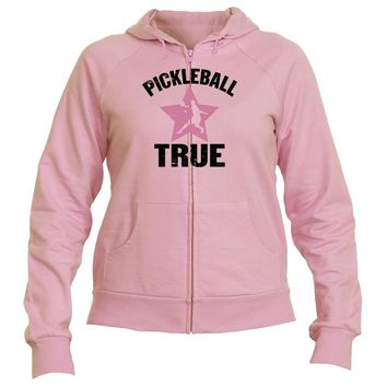 "Pickleball True ""RockStar"" Full Zip Fleece Hooded Sweatshirt - Women's"