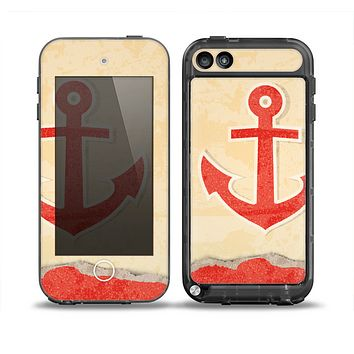 The Scratched Vintage Red Anchor Skin for the iPod Touch 5th Generation frē LifeProof Case