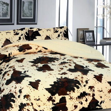 3 Piece Western Rodeo Cowhide Print Design Borrego Fleece Comforter Style Set - Beige