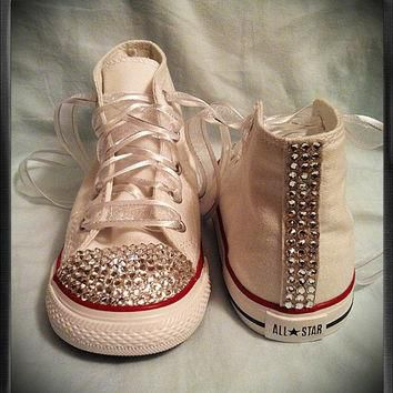 White high top bling chuck Taylor converse