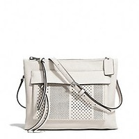 BLEECKER FELICIA CROSSBODY IN STRIPED PERFORATED LEATHER