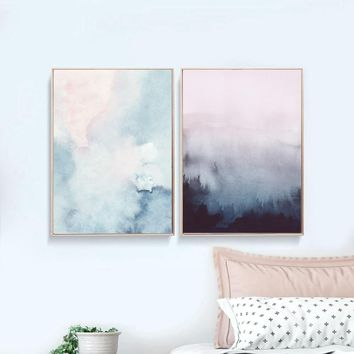 Abstract Art Canvas Painting Modern Wall Picture , Watercolor Pastel Art Canvas Prints and Poster Home Wall Art Decor