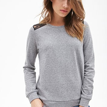 FOREVER 21 Lace-Paneled Sweatshirt Heather Grey/Black